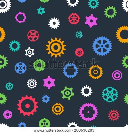 Seamless gear and cogwheel pattern. Flat background - stock vector