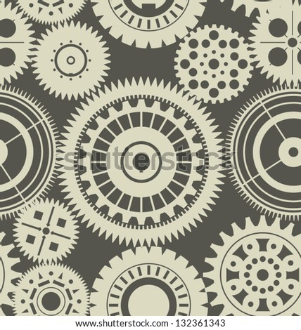 Seamless gears background retro color - stock vector