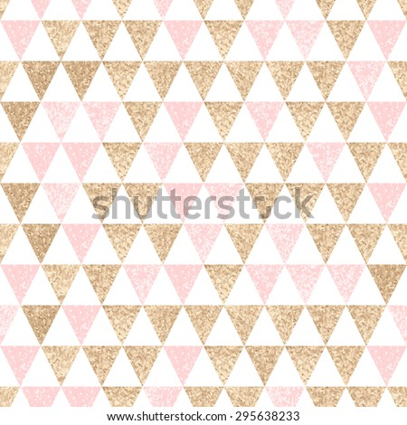Seamless geometric abstract background. Gold and pink triangles. Texture. Vector pattern. - stock vector