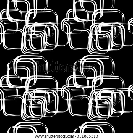 Seamless geometric abstract pattern with white rectangles on black . Vector endless background for creating card, web page background, wallpaper and textile. - stock vector