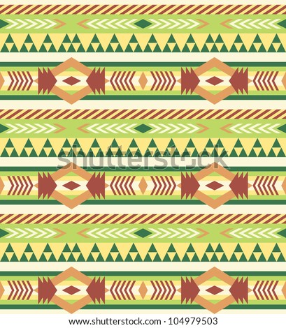 Seamless geometric aztec pattern #1 - stock vector