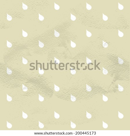 Seamless geometric beige vintage pattern from white raindrops - stock vector