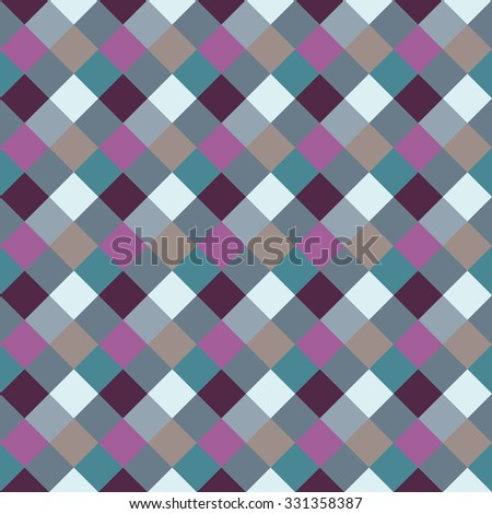 Seamless geometric checked pattern. Diagonal square, braiding, woven line background. Rhombus, patchwork, staggered figure texture. Light, blue, gray, turquoise, lilac colored. Winter theme. Vector - stock vector