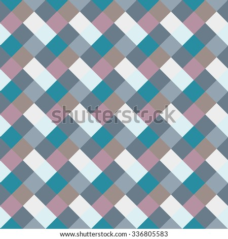 Seamless geometric checked pattern. Diagonal square, braiding, woven line background. Rhombus patchwork, staggered figure texture. Light, blue, gray, turquoise, sea, soft colored. Winter theme. Vector - stock vector
