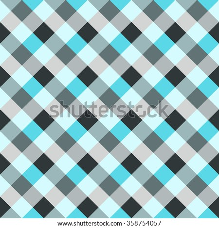 Seamless geometric checked pattern. Diagonal square, woven line background. Patchwork, rhombus, staggered texture. Gray, blue colors. Winter theme. Vector - stock vector
