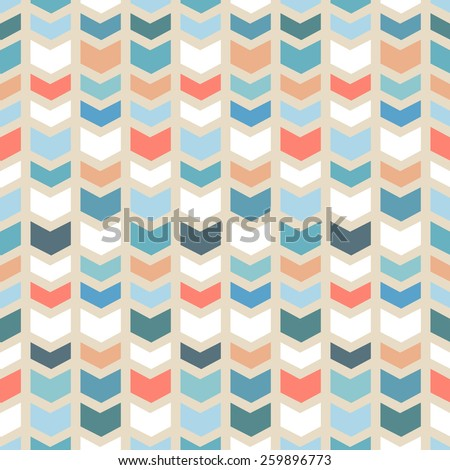 Seamless geometric chevron pattern on beige background in vintage colors. Vector - stock vector