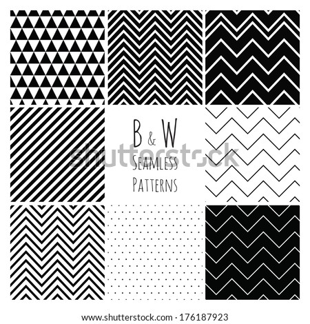 Seamless geometric hipster background set.  Black and White Seamless Patterns. - stock vector