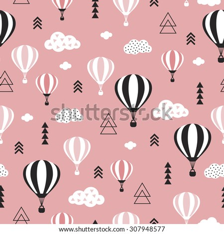 Seamless geometric hot air balloon illustration pastel pink clouds Scandinavian style background pattern in vector pink sky - stock vector