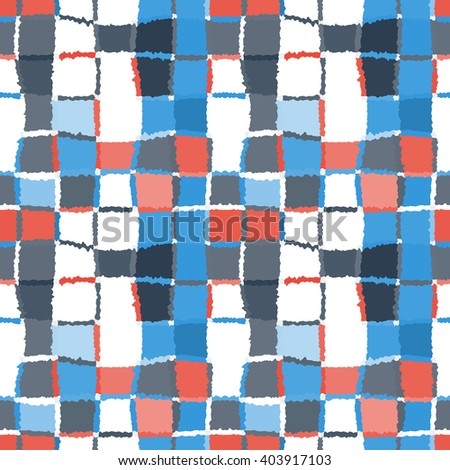 Seamless geometric mosaic checked pattern. Background of woven rectangles and squares. Patchwork, ceramic, tile texture. Blue, gray, red, white colors. Vector - stock vector
