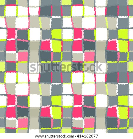 Seamless geometric mosaic checked pattern. Background of woven rectangles and squares. Patchwork, ceramic, tile texture. Gray, light green, white colors. Vector - stock vector