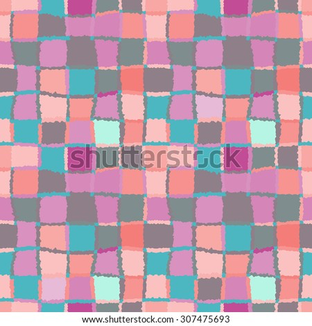 Seamless geometric mosaic pattern. Rectangles, squares, woven line background. Patchwork, ceramic, tile texture. Soft, pastel, rose, gray, blue, orange, beige, motley colored. Vector - stock vector