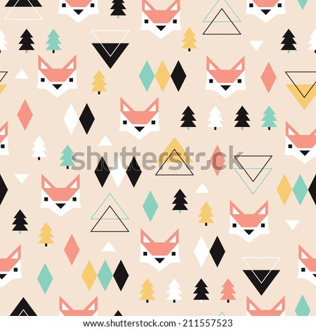 Seamless geometric pastel holidays theme fox forest and triangle christmas tree background pattern in vector - stock vector