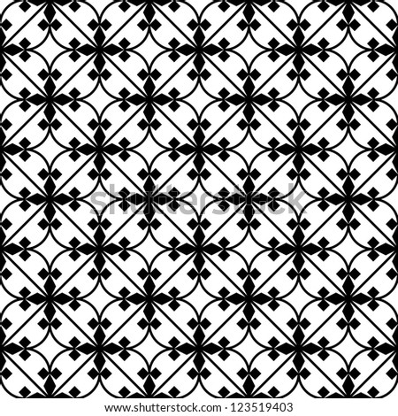 Seamless  geometric pattern black and white - stock vector