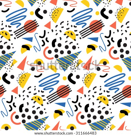 Seamless geometric pattern in retro 80s style, memphis - stock vector
