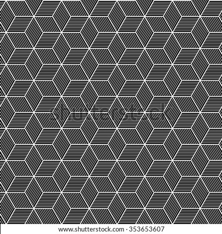 Seamless geometric pattern of 3d rhombus. Fashion graphic design with optical illusion cube shapes. Grey and black color, modern texture for print, textile, wrapping paper, website, blog... vector art - stock vector
