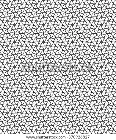 Seamless geometric pattern of the hexagonals and curved triangles elements - stock vector
