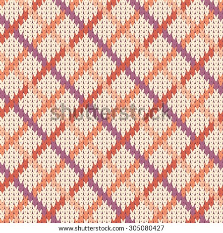 Seamless geometric pattern on the wool knitted texture. Pastel color - stock vector