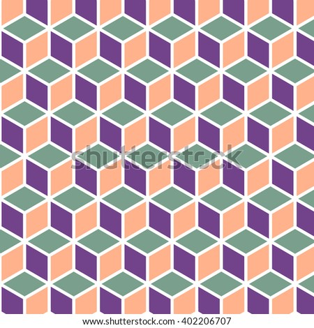 Seamless geometric pattern. Vector cube art - stock vector