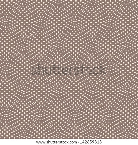 Seamless geometric pattern, wavy dots. Vector texture with illusion - stock vector