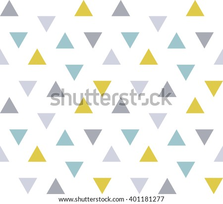 Seamless geometric pattern with colorful triangles on white background. Seamless abstract triangle geometrical background. Infinity geometric pattern. Vector illustration. - stock vector