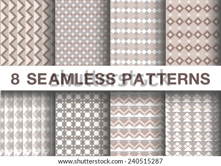 Seamless geometric patterns set collections of 8 brown and white tones  ,vector illustration  - stock vector