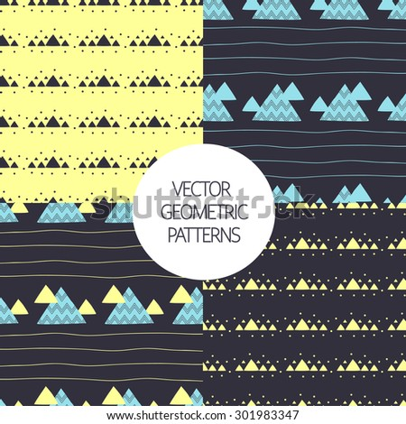 Seamless geometric  patterns set with decorative hand drawn triangles. Vector Illustration.  - stock vector