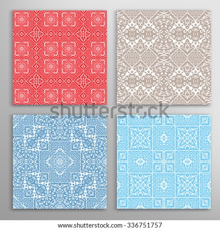 Seamless geometric patterns set with repeating lace texture for Wedding, Bridal, Valentine's day or Birthday Invitations, fabric or paper print. Vector collection - stock vector
