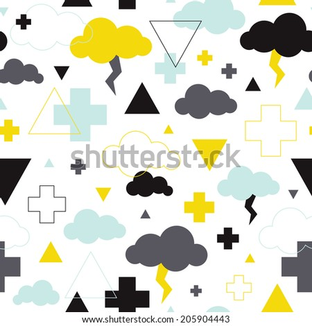 Seamless geometric plus sign triangle and cloud illustration background pattern in vector - stock vector