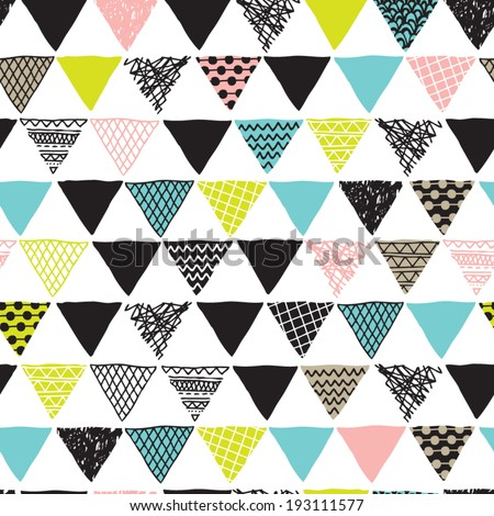 Seamless geometric plus triangle aztec details decorative background pattern in vector - stock vector