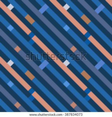 Seamless geometric stripy pattern. Texture of diagonal strips, lines. Rectangles on blue, orange, gray striped background. Hipster colored. Vector - stock vector