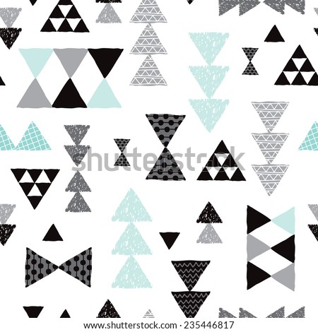 Seamless geometric tribal pastel triangle isolated on white hand drawn pastel background pattern in vector - stock vector