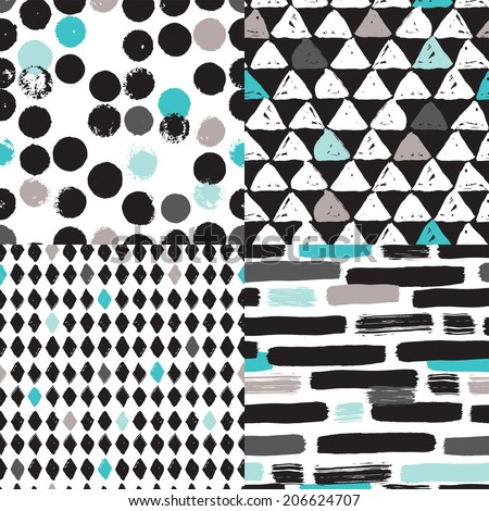 Seamless geometric tribal triangle diamond hand drawn background pattern in vector - stock vector
