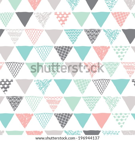 Seamless geometric tribal triangle hand drawn background pattern in vector - stock vector