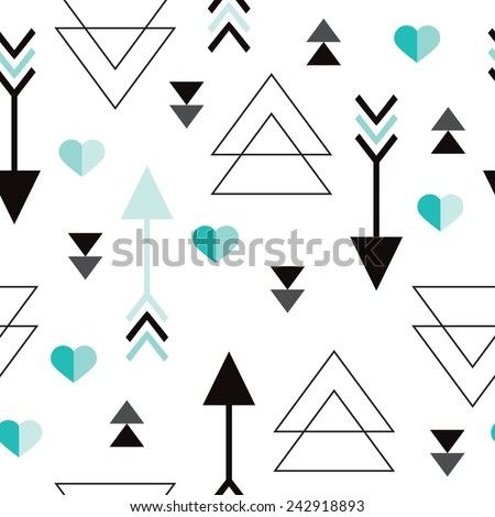 Seamless geometric valentine cupid arrow hearts and triangle love background pattern in vector - stock vector