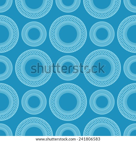 Seamless geometric vector background of circles spirographic - stock vector