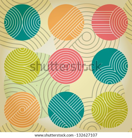 Seamless geometrical ornament with regular striped circles. Eps10 - stock vector