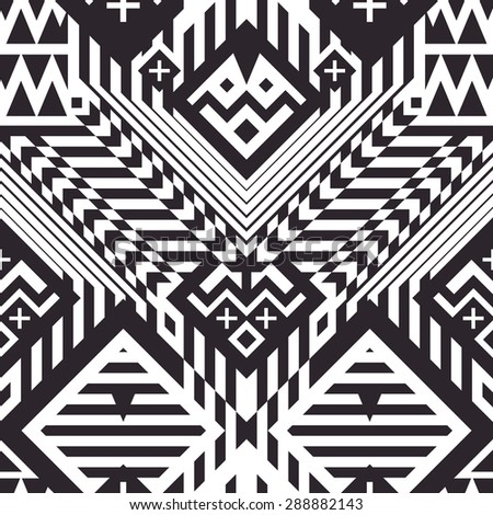 Seamless Geometrical Stripes Pattern for Trendy Textile Design. Mix of Black and White Lines, Triangles and Rhombuses. Vector Modern Art - stock vector