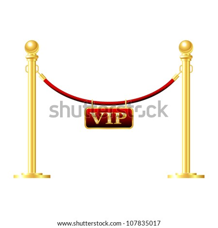 Seamless gold fence with red rope isolated on white - stock vector