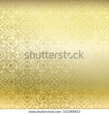 Seamless golden damask wallpaper - stock vector