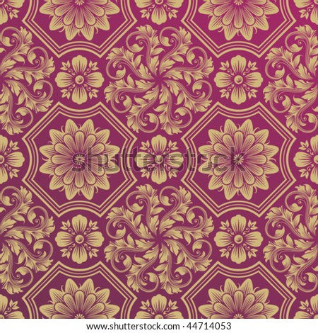 Seamless Golden Floral Damask Pattern, vector illustration layered. - stock vector