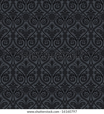 Seamless Gothic Damask Background - stock vector
