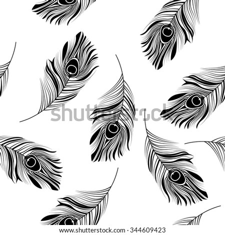 Seamless graphic pattern of peacock feathers. Hand drawn background with vintage elements. Vector illustration  - stock vector