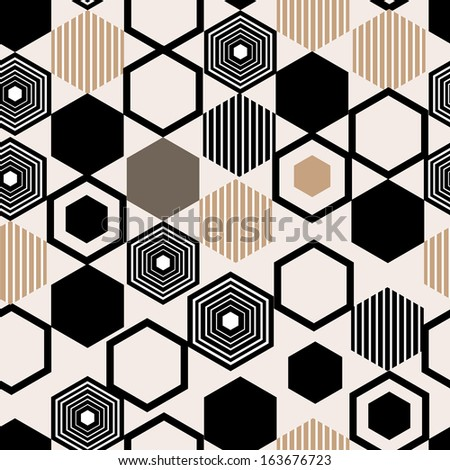 Seamless graphic pattern of repeating geometric polygons  - stock vector