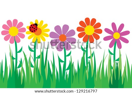 Seamless grass and flowers. - stock vector