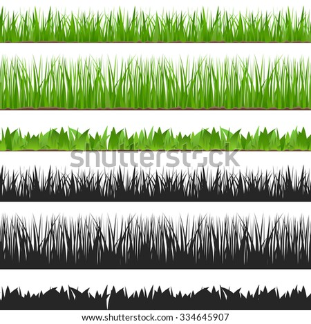 Seamless grass and its silhouette, vector eps10 illustration - stock vector