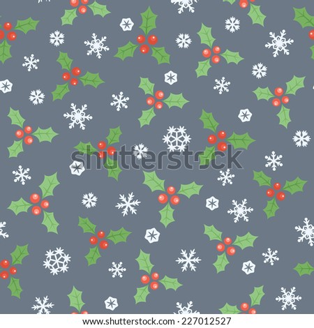 Seamless gray Christmas pattern with green holly leaves and snowflakes. Vector illustration - stock vector