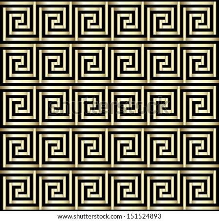 Seamless Greek Key Pattern In Gold - stock vector