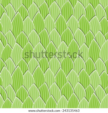 Seamless green background with leaves. Vector illustration. - stock vector