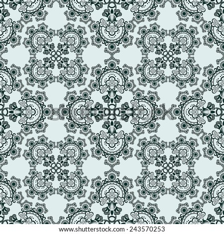 Seamless green floral ornate vector pattern. - stock vector