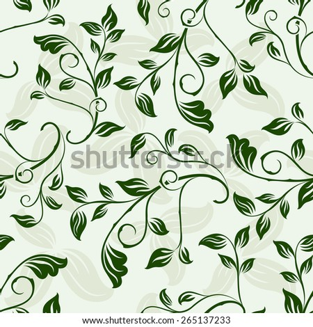 Seamless green floral spring vector background. - stock vector